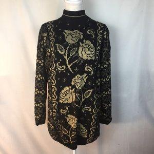 Vintage Dana Scott Metallic Rose Sweater